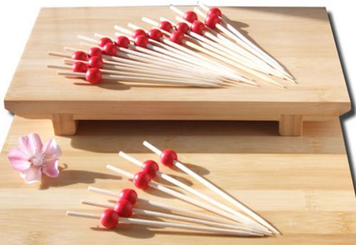 Cocktail stick skewer with red bead 12cm x 100 Japanese style - GOTO